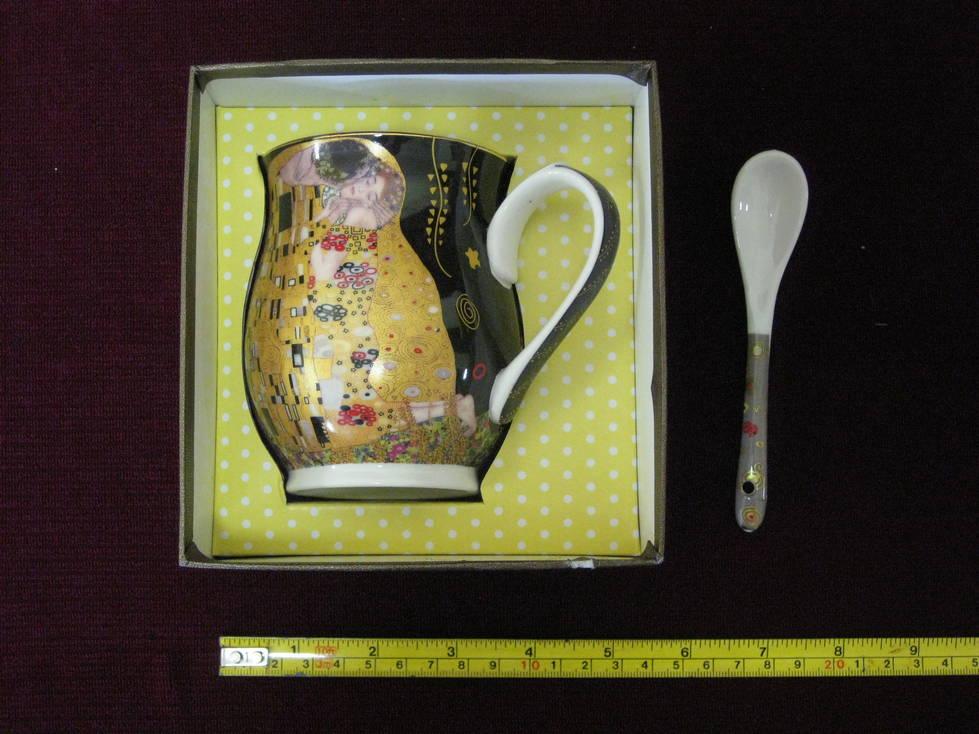 Puodelis keramikinis, šaukštukas