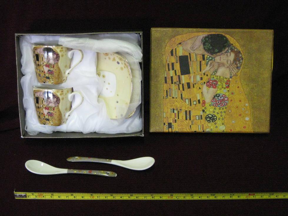 Puodelis keramikinis, lėkštutė šaukštukas 2+2